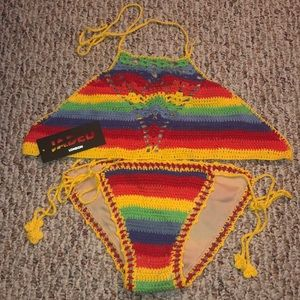 Rainbow Knit String Bikini
